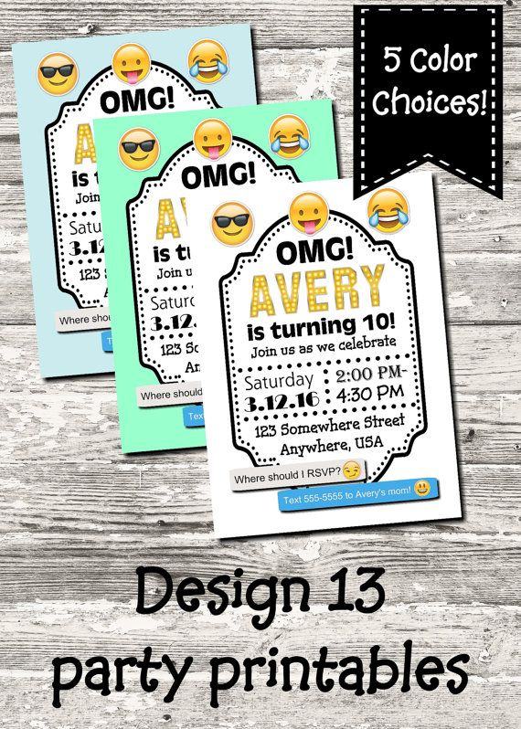 emoji birthday party invitation with free thank you by design13