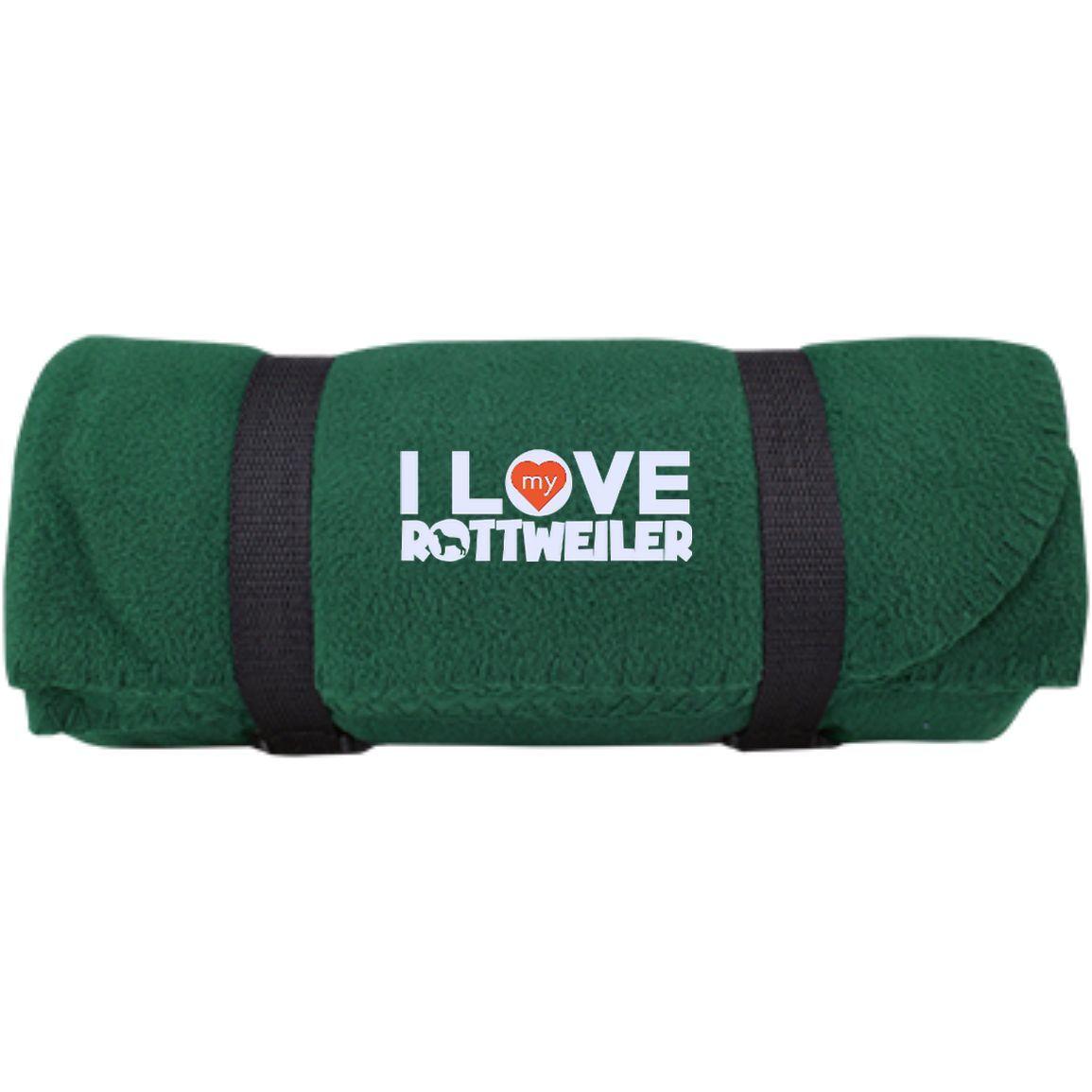 I Love My Rottweiler - Fleece Blanket (Embroidered)
