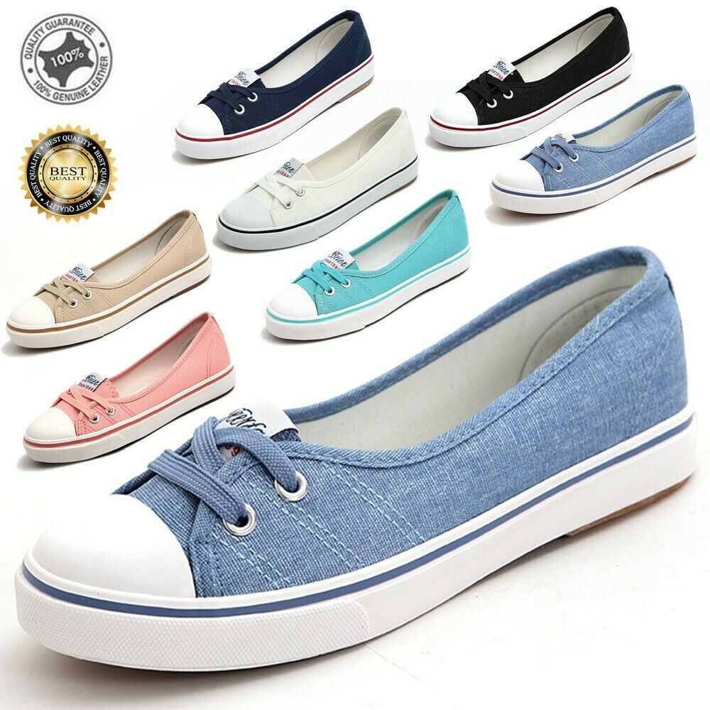 New Women/'s Canvas Shoes Pumps Slip On Size Ladies Casual Flat Lace Up Loafers