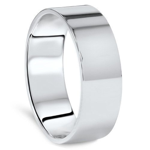 White Gold Band Plain Wedding Band Gold Ring Men S 10k Etsy Ringe