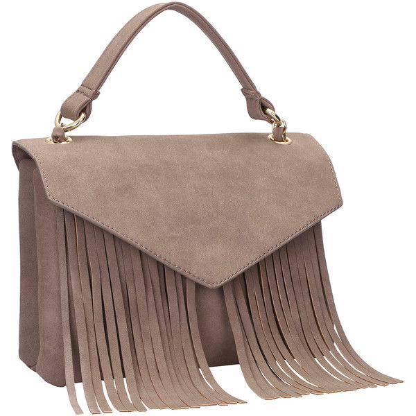 Camel Tassel Chain Satchel Bag ($24) ❤ liked on Polyvore featuring bags, handbags, brown purse, brown handbags, camel handbag, tassel handbag and brown satchel purse