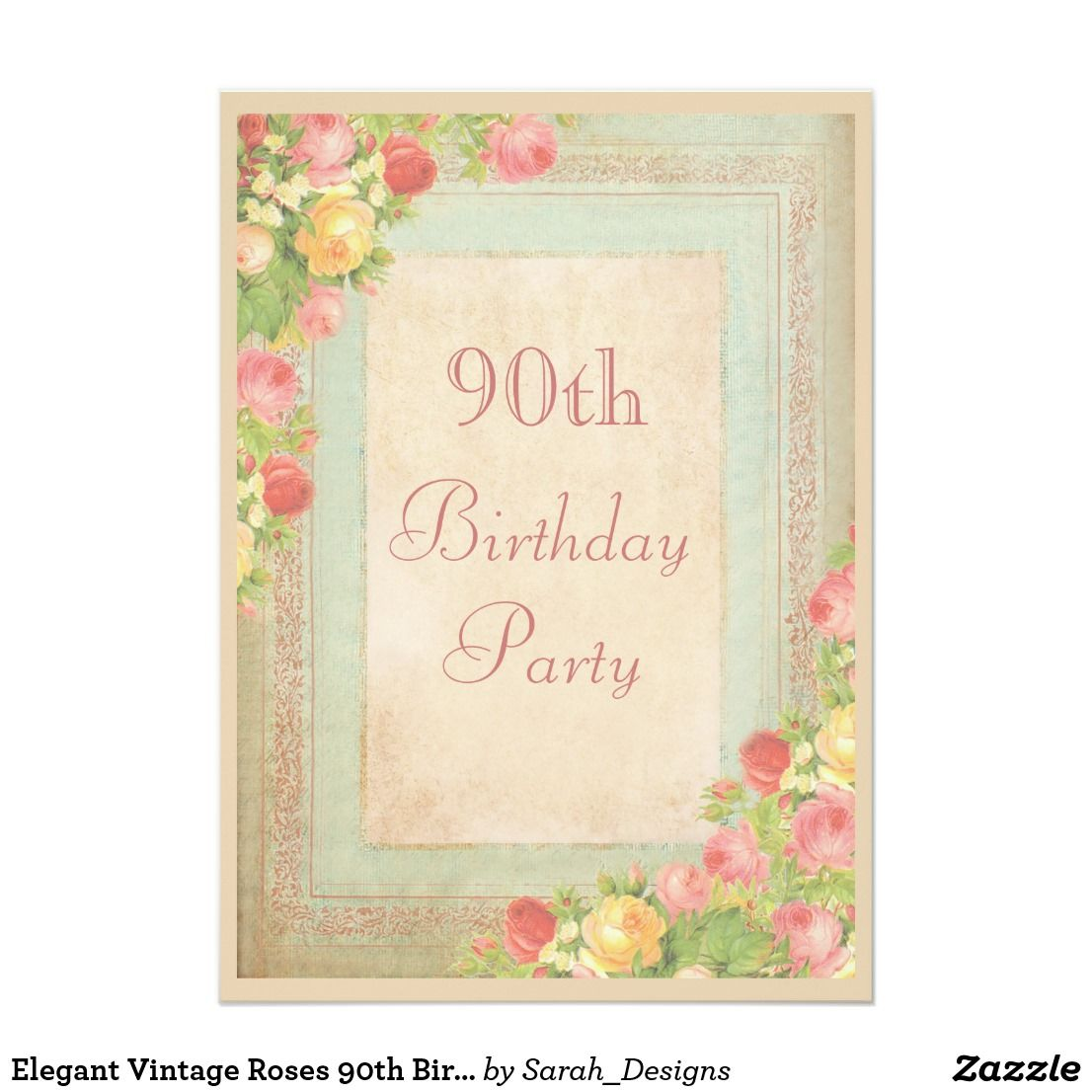 Elegant Vintage Roses 90th Birthday Party Card Personalized Custom Invitations For Women Beautiful Romantic Collage