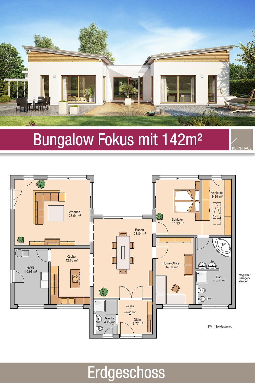 Bungalow Grundriss 142 m² 4 Zimmer Erdgeschoss