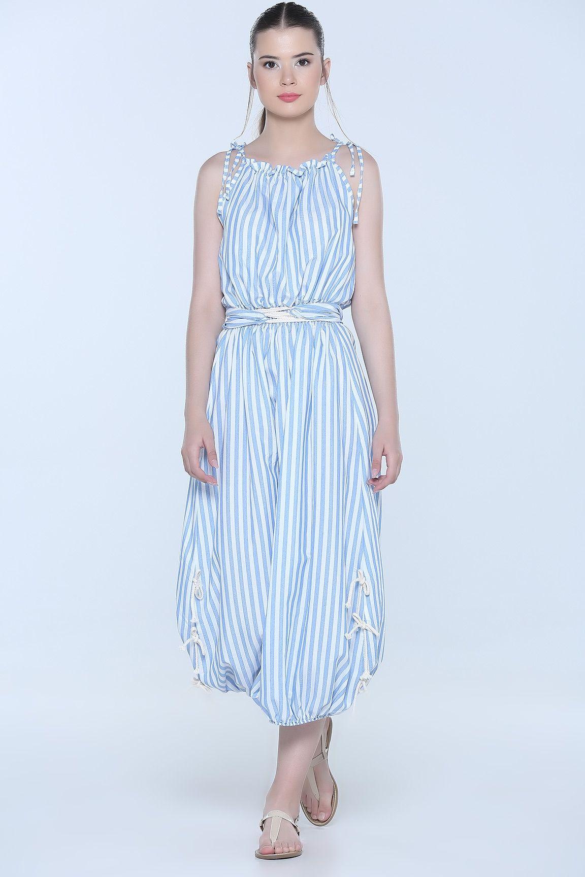 8948adeba266f Mavi ÇİZGİLİ BEL BÜZGÜLÜ ELBİSE | Elbise Modelleri | Dresses, Summer ...