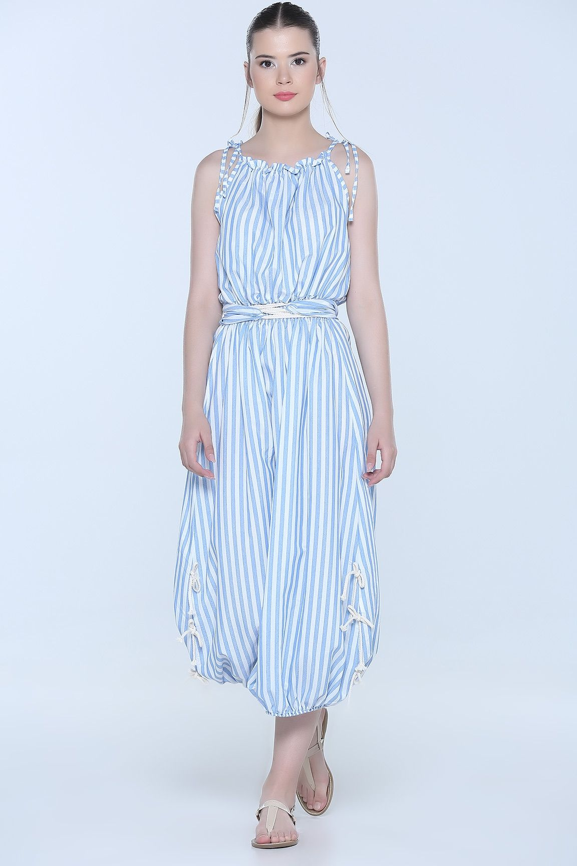 2509ad3088469 Mavi ÇİZGİLİ BEL BÜZGÜLÜ ELBİSE | Elbise Modelleri | Dresses, Summer ...