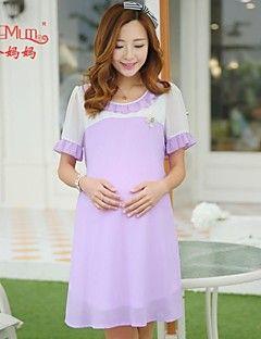 maternidade moda coreano chiffon grávida vestido de princesa mulheres grávidas Falbala colarinho chiffon saia