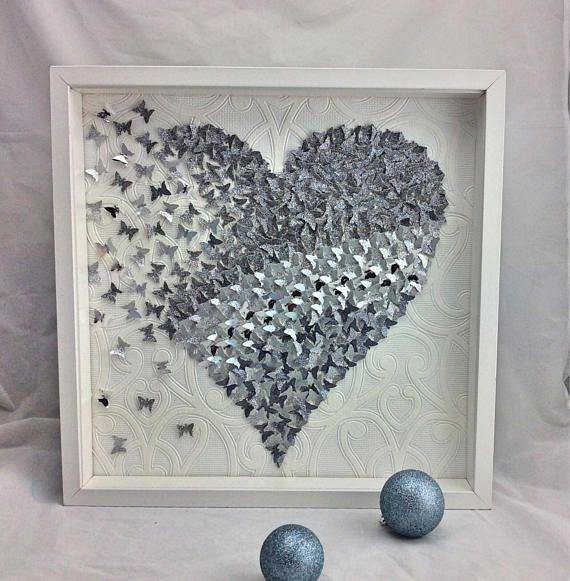 Silver Wall Art Decor Paper Butterfly Heart Wall Art 3d Etsy Heart Wall Art Silver Wall Art Butterfly Paper Art