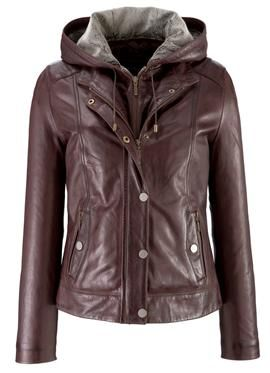 Lakeland Laura Women's Hooded Leather Jacket in Chocolate