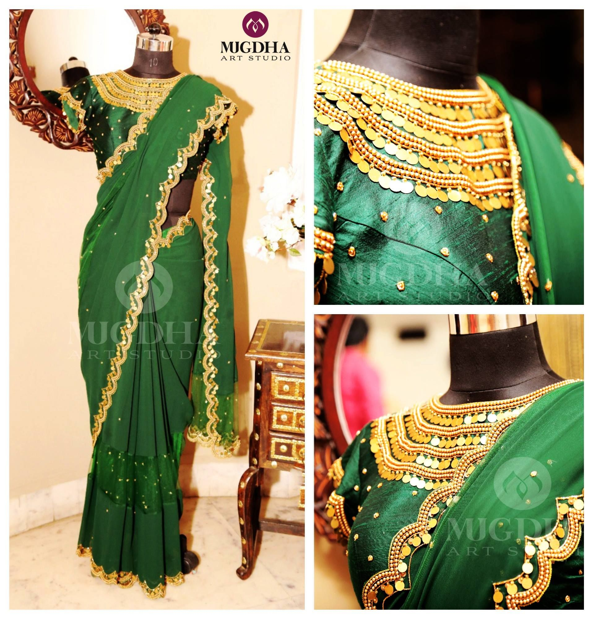 Creative Hand Made Embroidery and Beautiful saree lovely color From the House of Mugdha Art Studio . Beautiful green color saree and designer blouse with kasula hand embroidery work. <br>  They can customize the color and size as per your requirement.