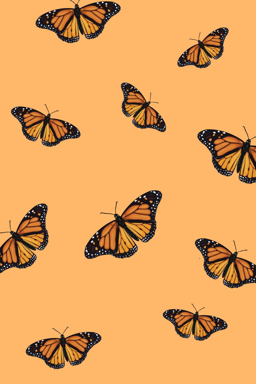 Butterfly wallpaper   Papel de parede laranja, Papel de ...