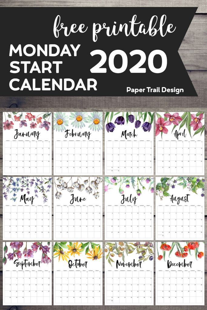 2020 Monday Start Floral Calendar Organize Your Home Or Work Office Space With Style Adorable Free Printable Calendar Planner Printables Free Free Printables