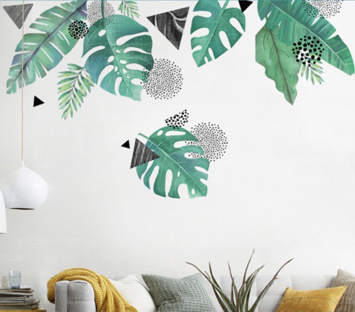 Mint Large Leaf With Geometry Pattern Vinyl Wall Sticker Wall