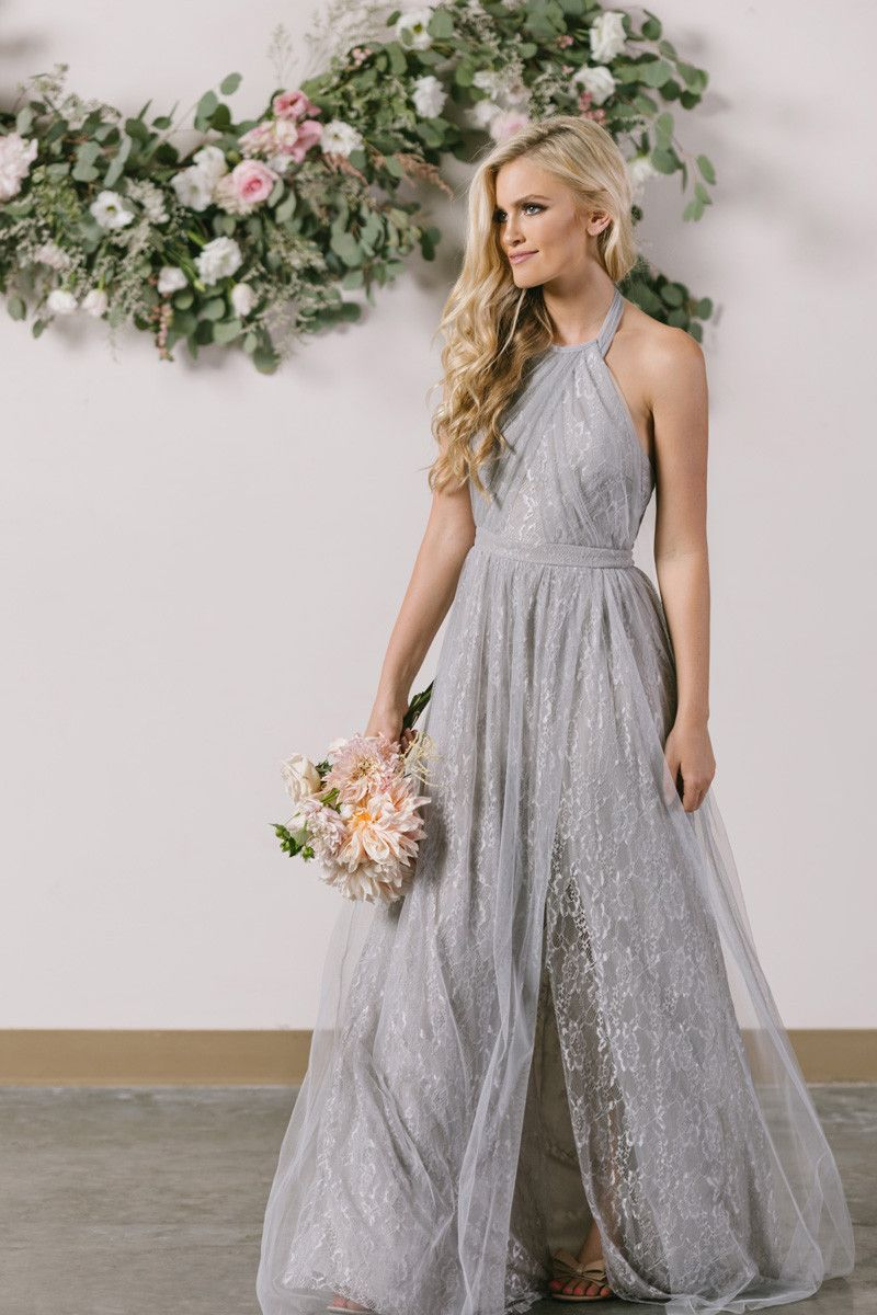 Isabelle grey tulle lace halter maxi dress in weddingsbeach