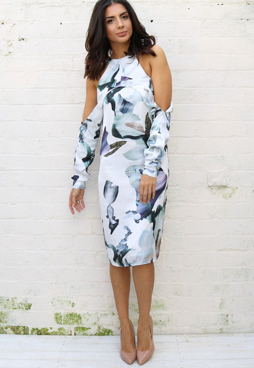 753448e56d8 Neon Rose Elemental Cold Shoulder Abstract Print Dress in White ...