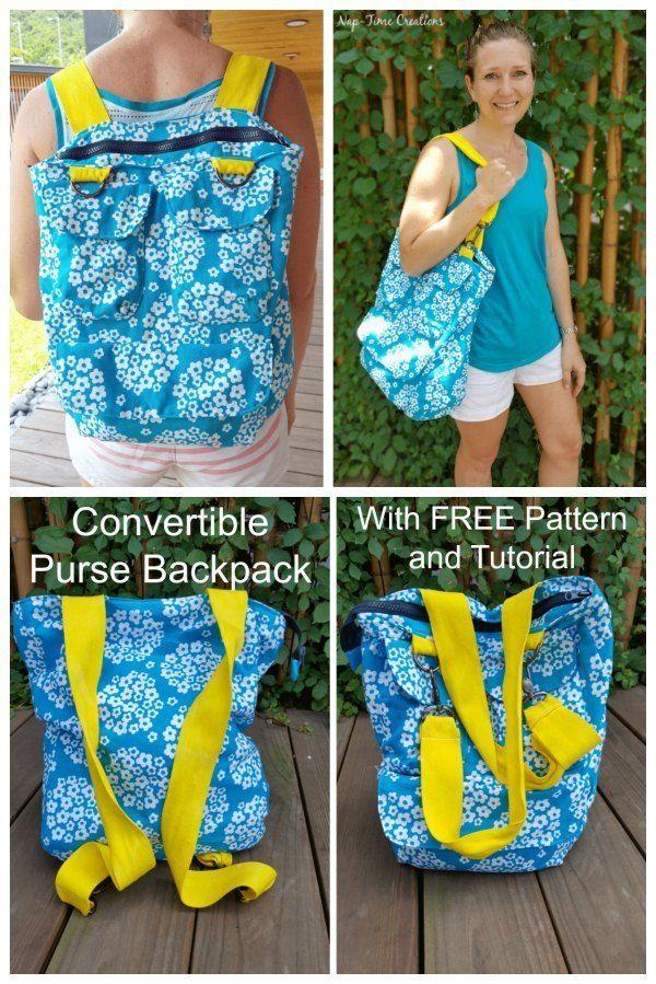 Convertible Purse / Backpack - FREE sewing Pattern #bagsewingpatterns