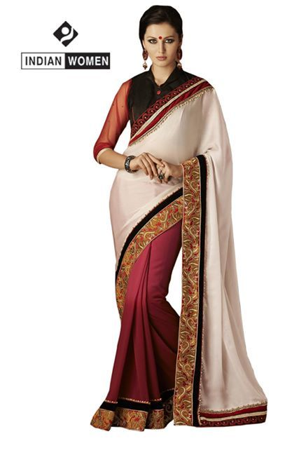 #Designer Saree !!  #Offwhite Chiffon Saree designed with Resham Embroidery And Lace Border. As shown Black Raw Silk Blouse fabric is available.  INR: 2556 Only Shop now @ http://goo.gl/y9gMOZ