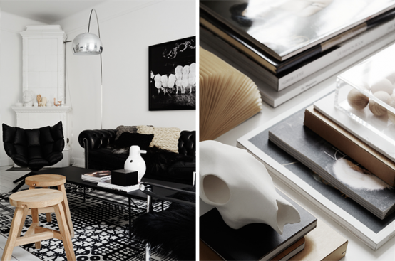 ApartmentsFancy Decoration Partment In Black And White With Tufted Armchair Sofa Coffee