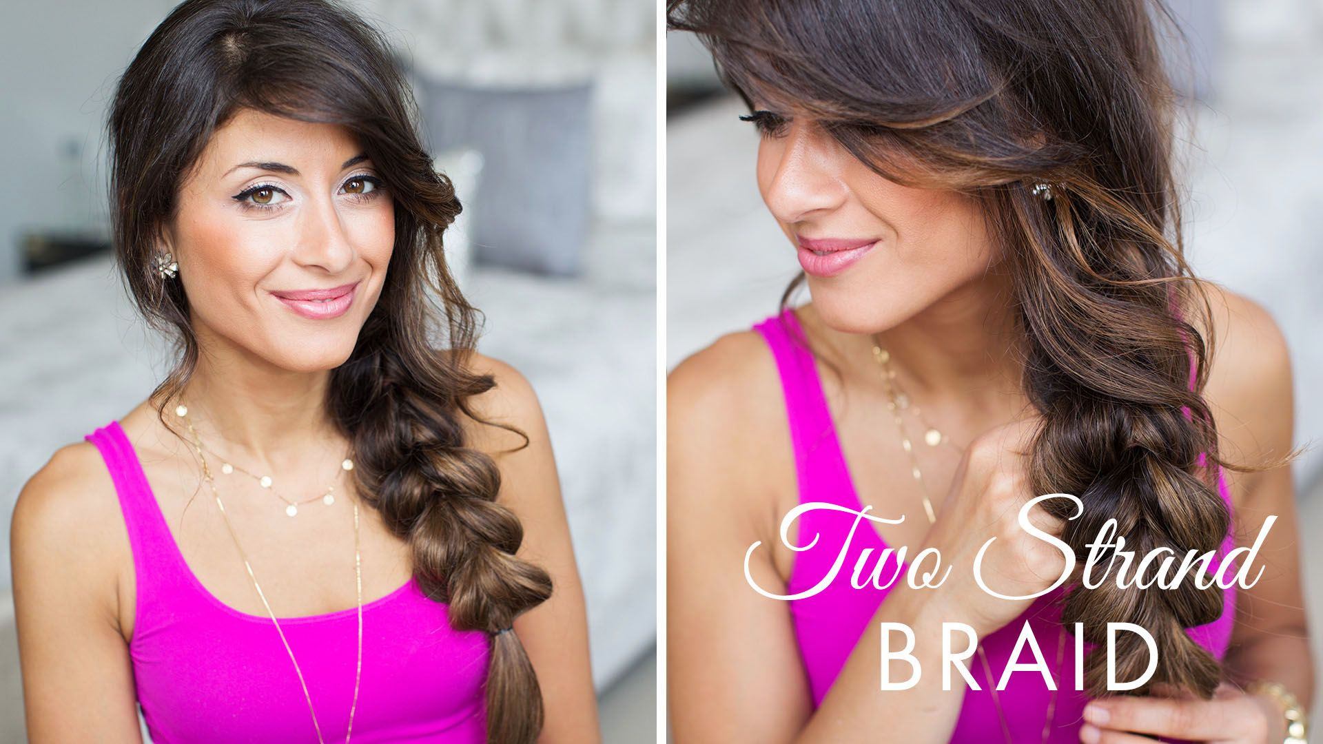 Two strand braid hairstyle using ombre chestnut luxy hair extensions
