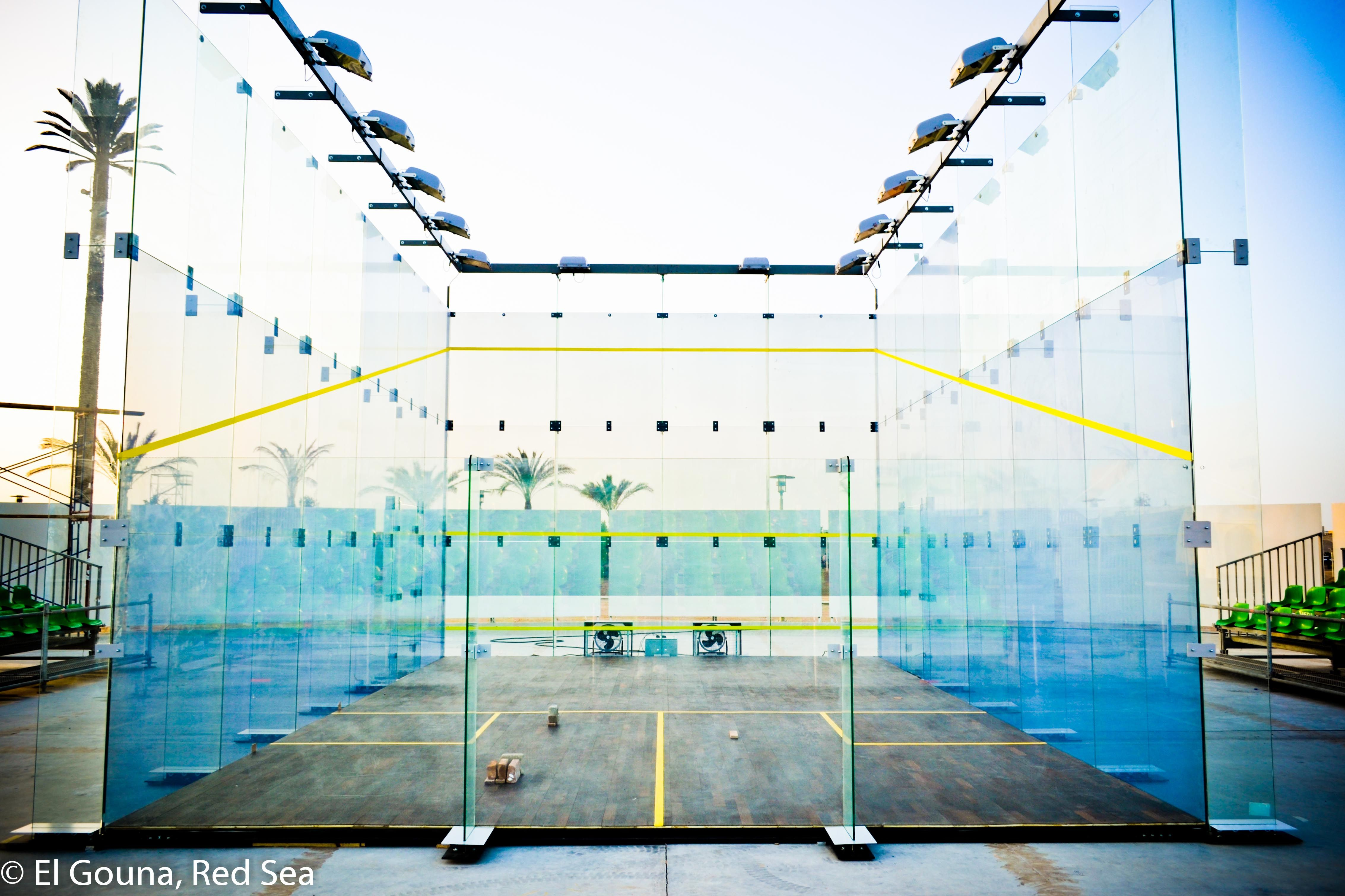 World S Most High Tech Glass Court For The El Gouna Int L Squash Open 2012 Squash Game Indoor Basketball Court Indoor Basketball
