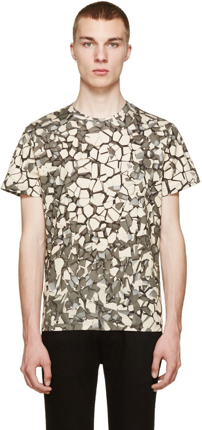 Christopher Kane shirt in grey//beige rubble print