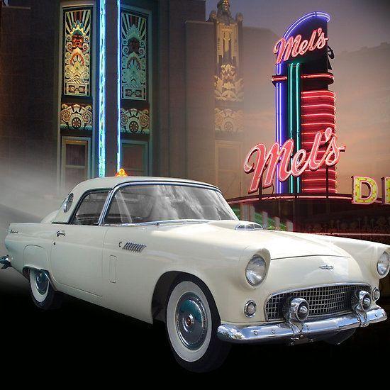'White Thunderbird Classic car 50's' Canvas Print by Irisangel