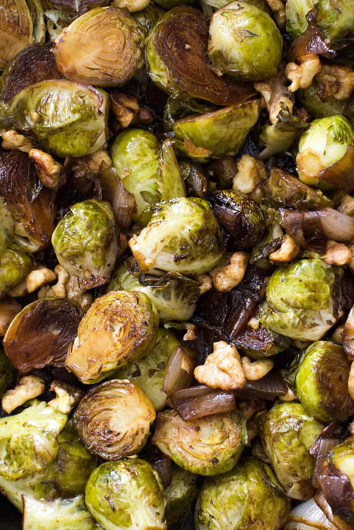 Balsamic roasted brussels sprouts and shallots recipe