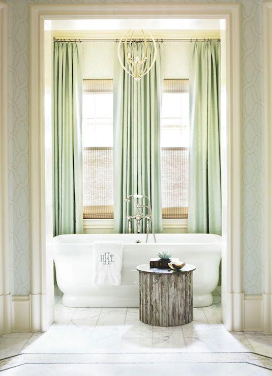 Seafoam Green Blue Elegant Bathroom Design With Silk Window Panels Curtains Freestanding Tub Monogrammed Towels Bamboo Roman Sha