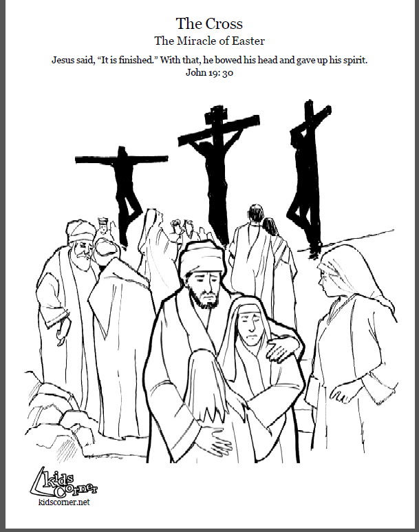 Crucifixion Story Coloring Page Script And Bible