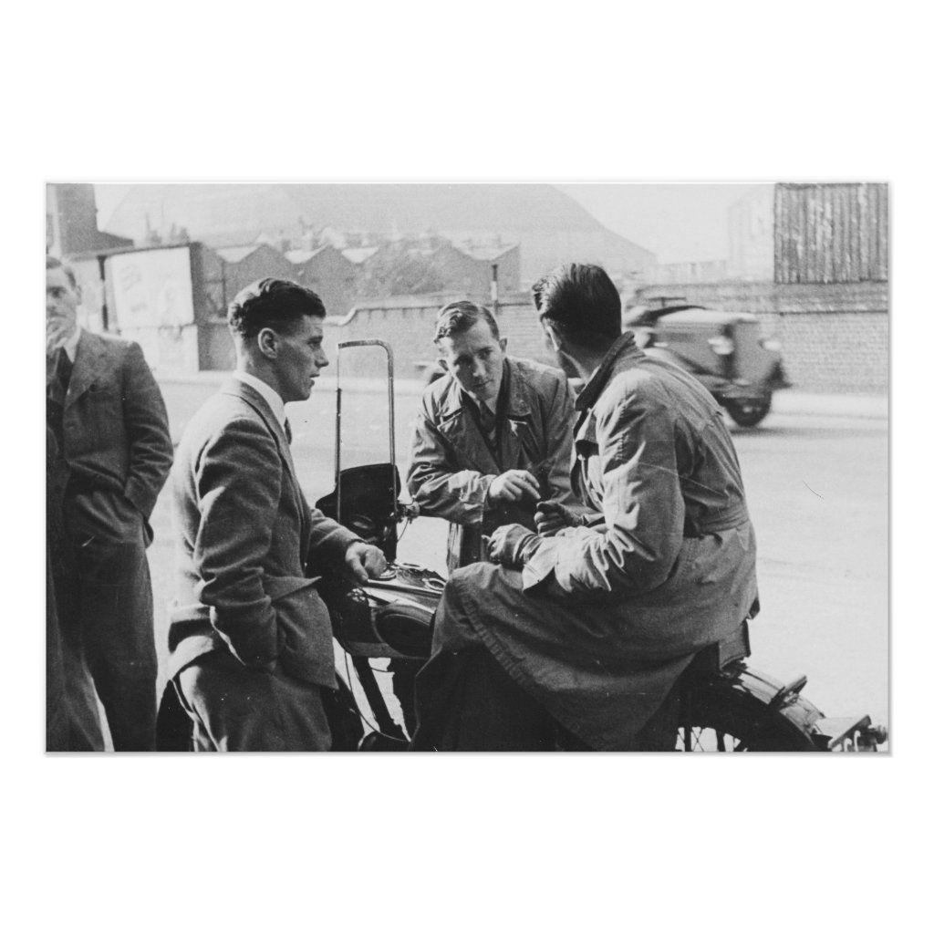 Men Chatting Old Black & White Image
