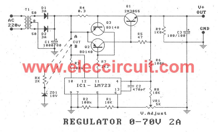 Variable power supply circuit, 0-50v at 3A with PCB