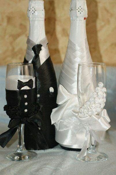 Matching wine bottles & bride & groom flutes | A Little ...