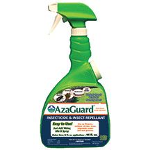 Azaguard Insecticide/Repellent- This organic insecticide and insect repellent controls over 300 insect species. It inhibits growth, feeding and reproduction of aphids, thrips, beetles, stink bugs and many more pests. It can be used on all crops including fruits, vegetables and herbs, leaving no residue, and is chlorine and ammonia free. Mixes to make three 32 oz. applications. The only organic treatment for onion maggots.