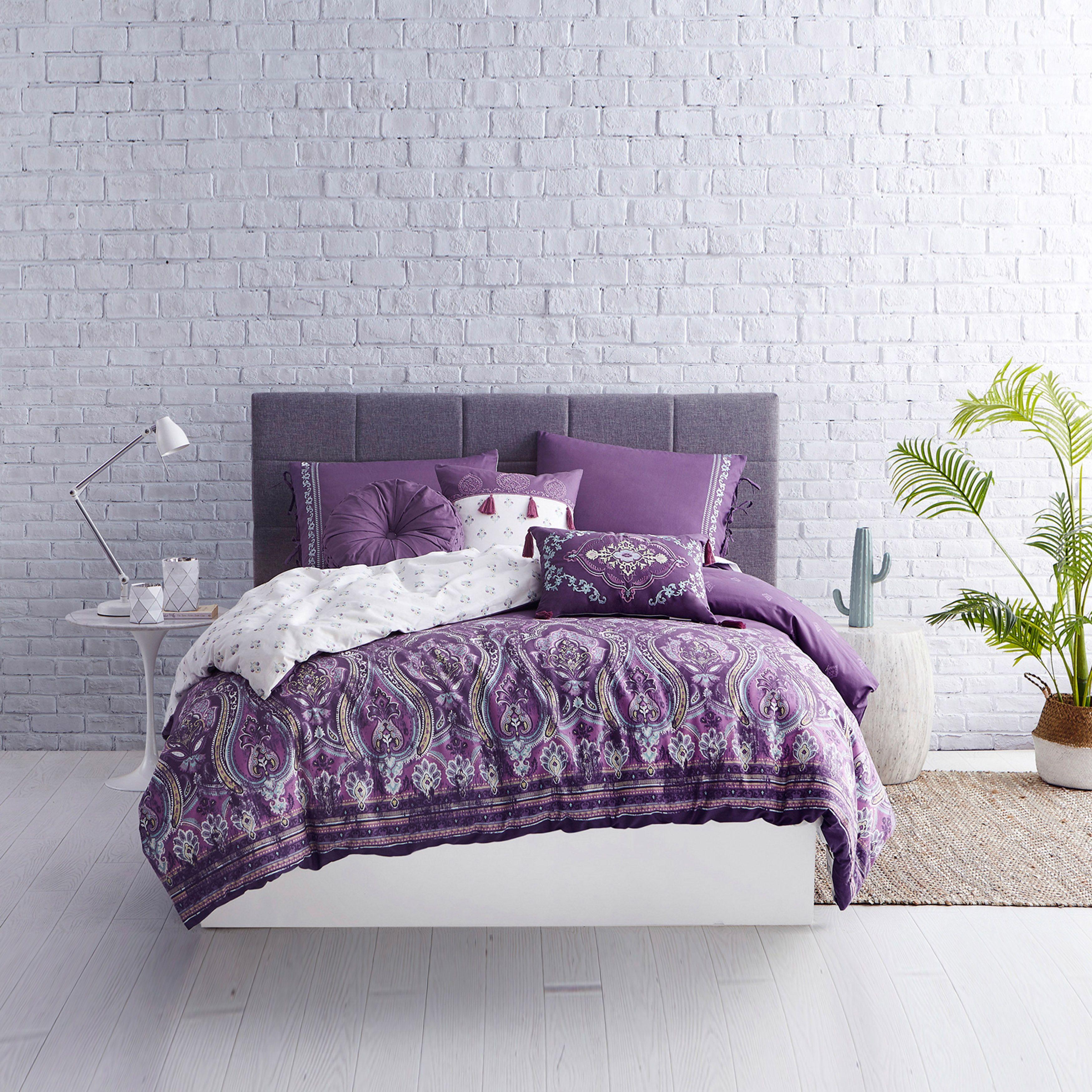 Boheme Cotton Comforter Set In Purple Cotton Comforter Set Comforter Sets Duvet Sets