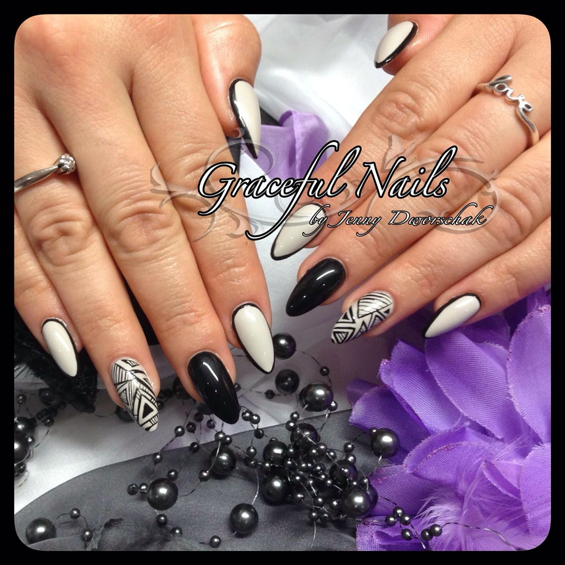 Fullcover Naildesign Nails Nude Black Gelmalerei | Nails Fullcover ...