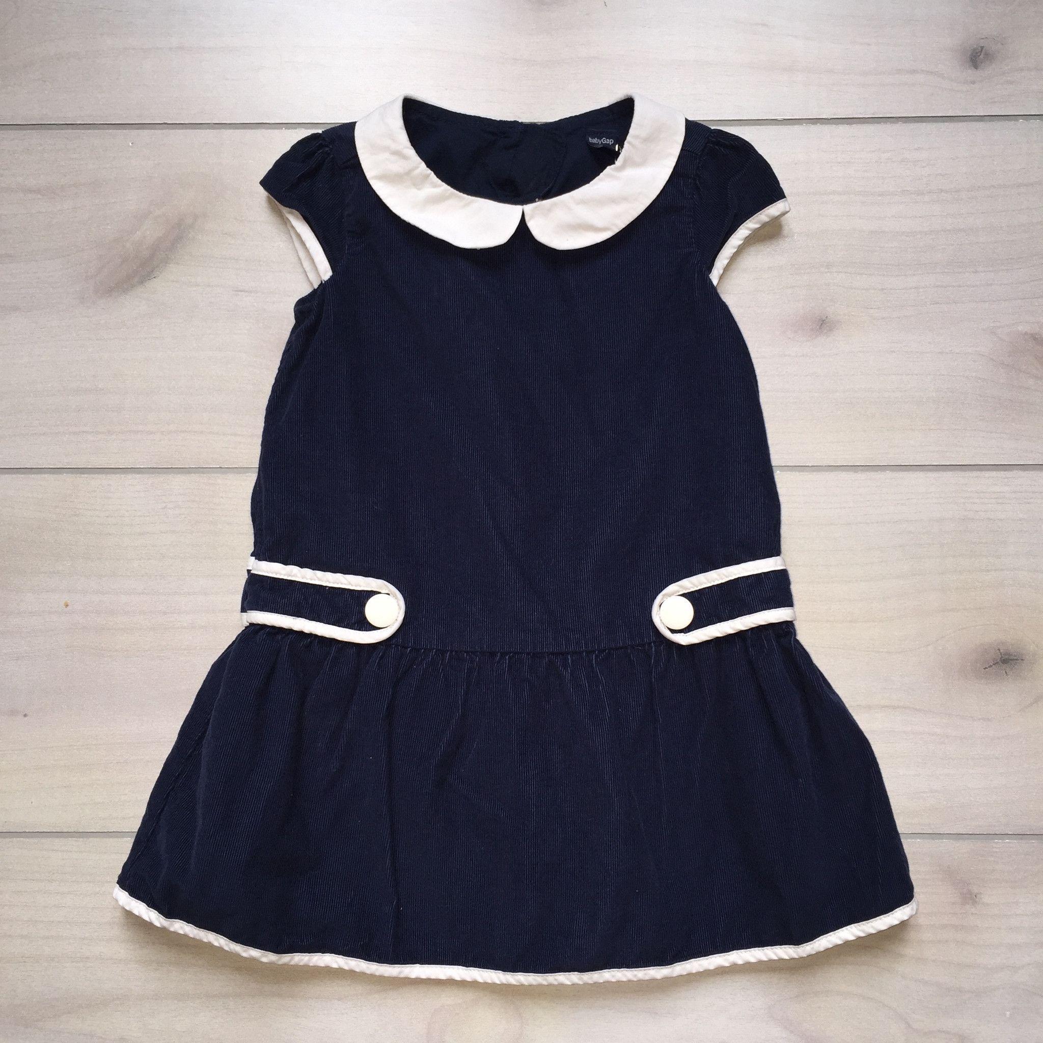 Baby Gap Velour Navy Trim Dress