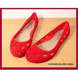 Flatshoes Beludru Merah Sepatu Beludru Merah Beludru