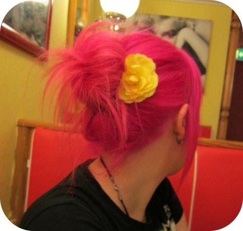 pink hair yellow flower