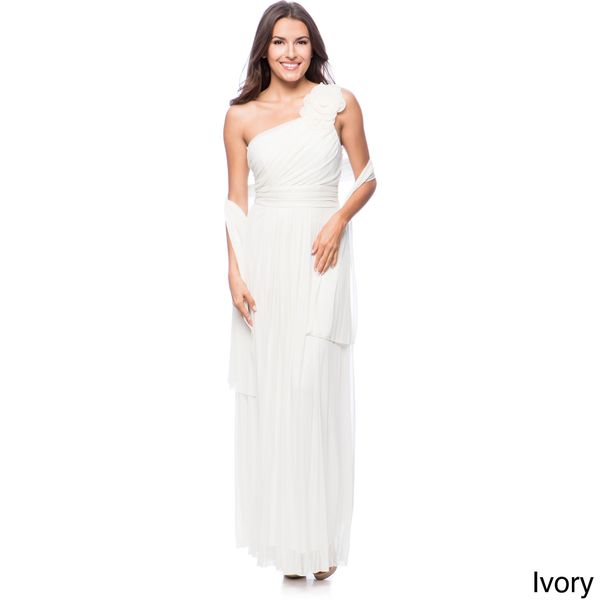 DFI Women's Floral Applique One-shoulder Evening Gown - Overstock Shopping - Top Rated Evening & Formal Dresses