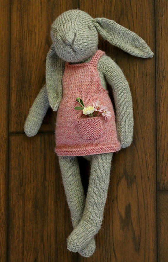 NOT a DRESSUP DOLL Claire the Hare knitted bunny rabbit toy | Etsy #instructionstodollpatterns