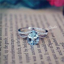 Natuurlijke Aquamarijn ring 7 * 9 mm Aquamarijn verlovingsring/trouwring verjaardag ring belofte ring