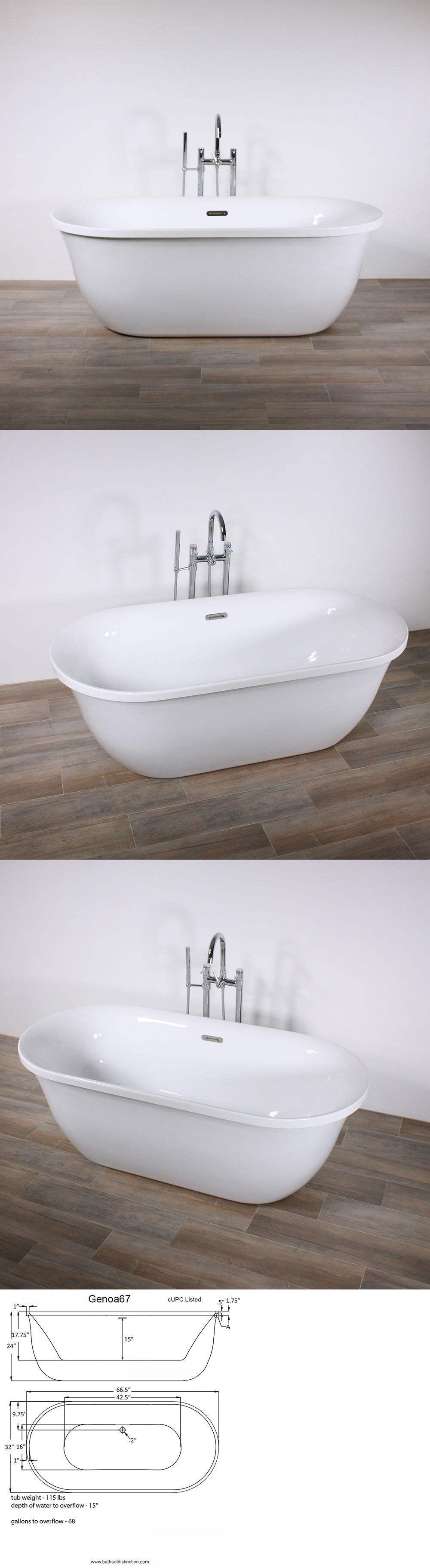 Bathtubs 42025: Freestanding Bathtub Genoa 67 Oval Acrylic Tub With ...