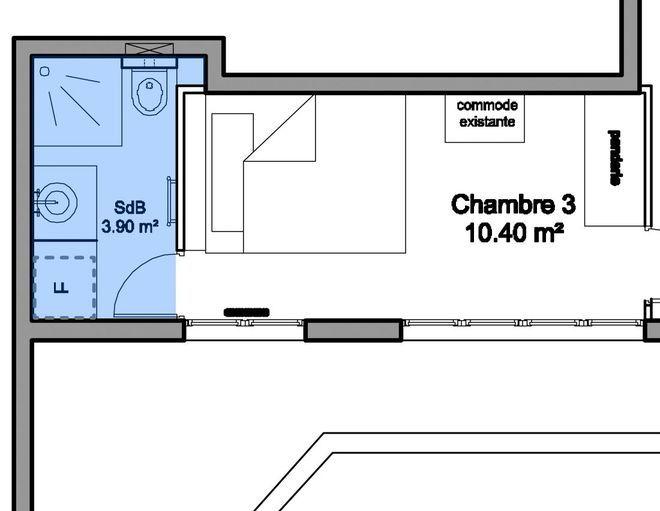 Plan d\u0027une salle d\u0027eau de 3,90 m2 avec WC et coin buanderie pour le