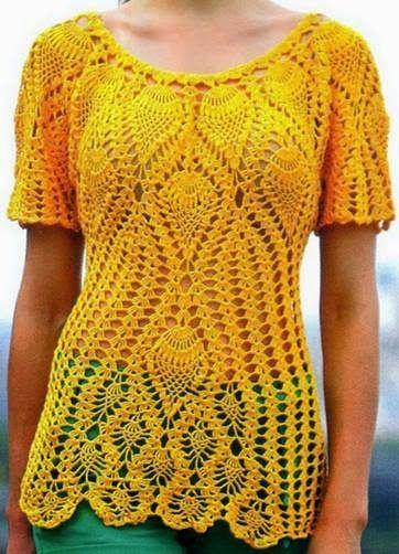 Häkelmuster Fundgrube: Shirt mit Längsstreifen und Ananas-Muster ...