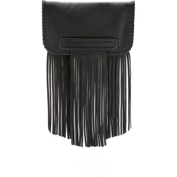 B-Low The Belt Totem Clutch (1,115 SAR) ❤ liked on Polyvore featuring bags, handbags, clutches, black, black leather clutches, leather purse, black handbags, black purse and black fringe purse