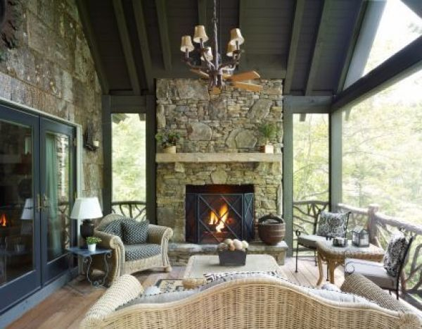 Private covered deck with large fireplace... Love it all!