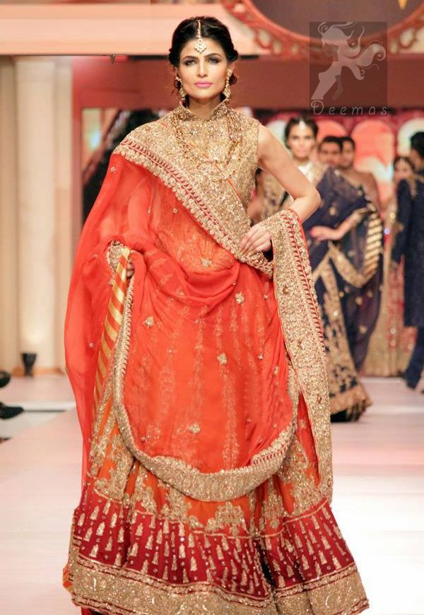 c9bfabafb02612 Deep Orange and Red Heavily Embroidered Bridal Lehenga For Baarat