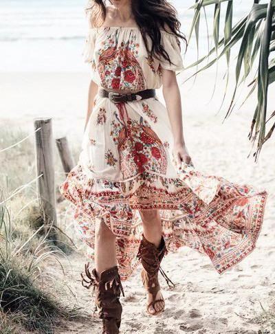 21c6ddb5d4ca93 Product Description: New Stylish Bohemian Print Floral Off Shoulder Long  Dress by PesciModa Details: Color: As The Photo, Size: S, M, L, XL, ...