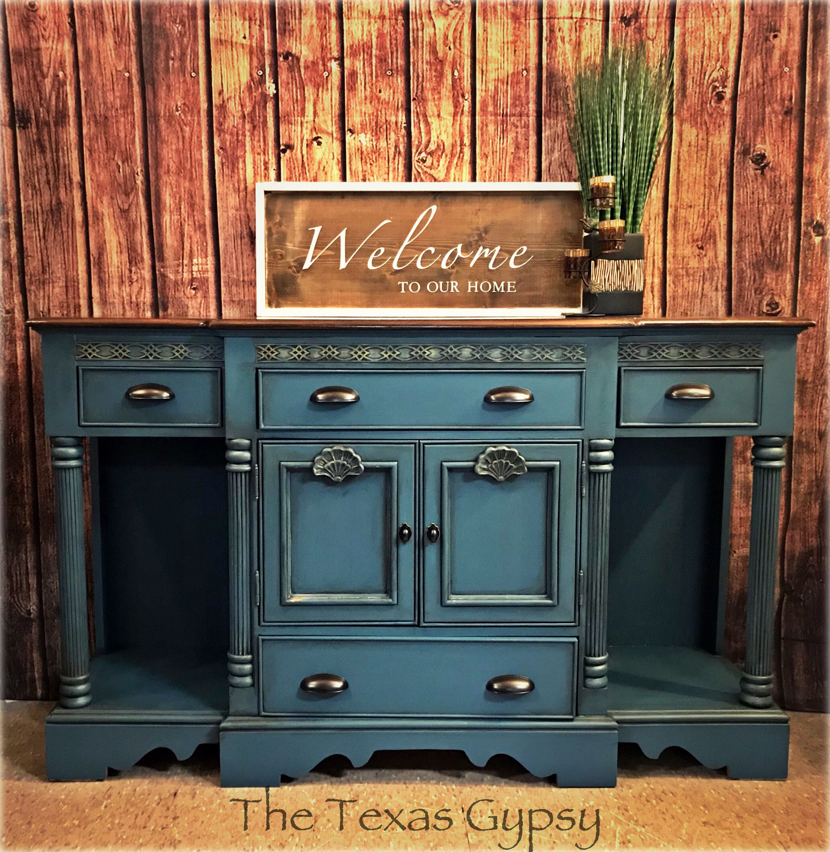 Buffet Sideboard Blue Aubusson Blue Farmhouse Buffet Sideboard Server Bar In 2019