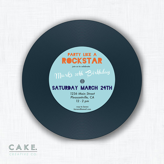"""Welcome to CAKE Creative Co.  Put the needle on the record! This listing is for a printable digital file of the pictured 5x5 invitation design (item can be printed square and trimmed with a circle cutter or scissors)  HOW TO ORDER: 1) Add this listing to your cart 2) In the """"notes to seller"""" section, include text for personalization where applicable. 3) When payment is confirmed you will be e-mailed a proof within 3-5 business days. Once you receive your proof, please review and reply with…"""