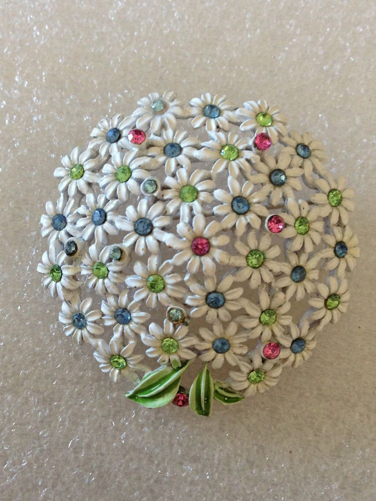 Vintage White Enamel Daisies with Pastel Rhinestones Domed Cluster Pin